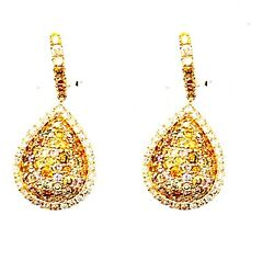 14k-585 Yellow Gold Pear Shaped Colored Diamond Earring6.1 Grams