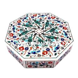 7''x7''x2 Multi Floral Arts Marble White Inlay Jewelry Box Parrot Hallway Gifts