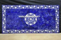 Marble Lapis Center Dining Table Top Mother Of Pearl Floral Inlay Art Decor M222