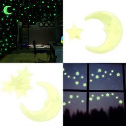 100 Glow In The Dark Star and Moon Shape for Ceiling Wall Bedroom US