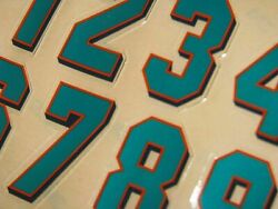 Miami Dolphins 2000 Football Helmet Numbers Decals 0-9 Full Size 3m 20mil