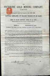 Victorine Gold Mining Co Limited Bond 1881 Nevada + 11 Coupons