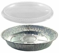 9 Round Aluminum Foil Food Take-out Pan Container W/dome Lid Disposable Tins