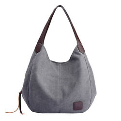 Canvas Totes Bag Women Bag Large Shoulder Handbags Casual Ladies Travel Bags $24.33