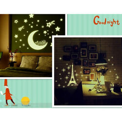 Wall Stickers Kids Room Decor Star Moon Fluorescent Wall Decals Glow In The Dark