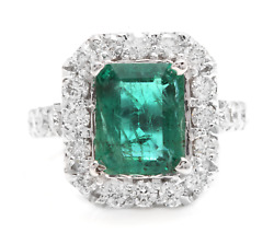 5.30ct Natural Emerald And Diamond 14k Solid White Gold Ring