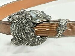 Jeff Deegan Vintage Sterling Silver Alligator Large Buckle 2pc Set 3.75and039and039 Only