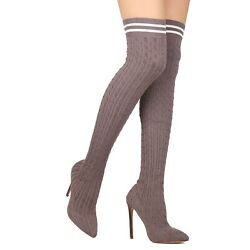 Liliana Over The Knee Pointed Toe Knit Sock Heels $35.00