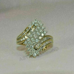 2Ct Round amp; Baguette Cut Diamond Cluster Engagement Ring 14k Yellow Gold Finish $75.99