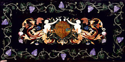 4and039x2and039 Marble Dining Table Top Precious Angels And Grapes Inlay Interior Decor B546