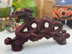 Dragons,, Red Risen Figurines, Feng Shei Strength, Prosperity, Large Dragon