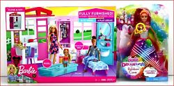 Lot 2- Barbie Close And Go 4 Room House And Furniture + Rainbow Cove Light Show Doll