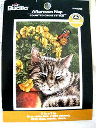Bucilla Cross Stitch Embroidery Afternoon Nap Tabby Cat Kit WM45700 Started kb2