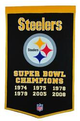 Pittsburgh Steelers 24 X 38 Genuine Wool Blended Championship Banner