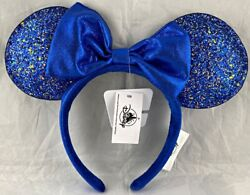 Disney Parks Wishes Come True Blue Minnie Mouse Ears Bow Headband - New