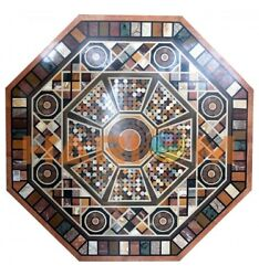 3and039x3and039 Marble Octagon Dining Table Top Gemstone Mosaic Inlay Interior Decors B629