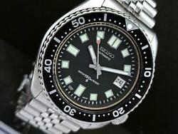 849 / Seiko The Second 6105 Diver Look Customized Black Dial Second Design Hands
