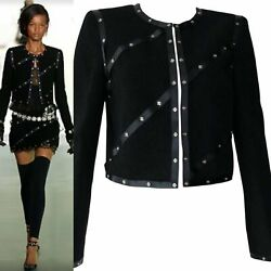 2003 Fall 03a Snap Collection Black Cropped Boucle Jacket Fr 48 Us 10/12