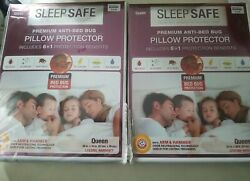 Sleep Safe Premium Anti Bed Bug Pillow Protector Include 6 In 1 Protection of 2