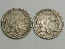 2 Better-date Us Buffalo Nickels 1913 T-1 And 1931-s. 16
