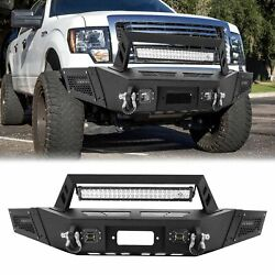 For 2009-2014 Ford F150 Steel Front Bumper W/led Lights Bar D-rings Winch Plate