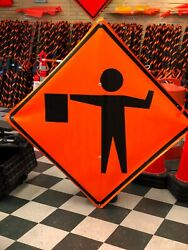 Flagman Symbol Fluorescent Vinyl With Ribs Roll Up Road Sign 48 X 48
