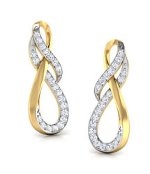 Christmas 1.60ct Natural Round Diamond 14k Solid Yellow Gold Dangler Earring