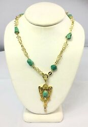 Natural Untreated Turquoise And Pearl Antique Necklace 14k Gold 22.4 Grams