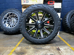 20x9 D616 Fuel Contra Black Wheels Rim 32 At Tires Package 6x135 Ford F150 Tpms