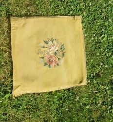 Antique Tapestry Floral Needlepoint Seat Covers Set Of 2 Gold Dining Chair