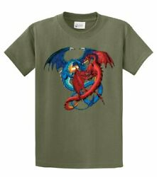 Dragon Red And Blue Dragons Fighting Fantasy Mythical Mother Draco Fire