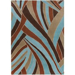 Surya Fm-7002 Forum Area Rug 10and039 X 14and039 Dark Brown/teal