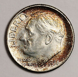 1956-d Roosevelt Dime. Beautiful Natural Colors Obverse And Reverse. Bu 152947