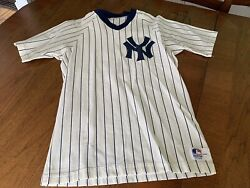Vintage New York Yankees Jersey Medalist Sand Knit Size Large Striped White Blue
