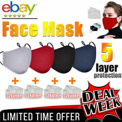 Cotton Reusable Face Mask Cover W/2 Filter Washable Anti Fog Pm2.5 Face Mask A