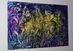 Peter Reichle - Acrylic Painting - Purple Wonders - Signed - 29 1/2x19 11/16in