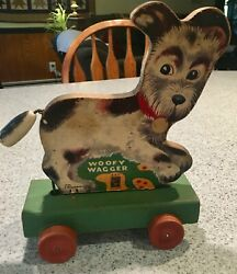 Vintage Toys - Fisher Price Woofy Wagger, 1947. wooden Pull Toy Puppy Dog