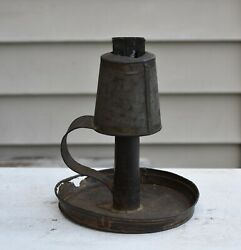 Antique Tin Metal Whale Oil Hand Lamp Primitive Lantern W/ Candle Holder