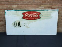 Large Vintage Coca Cola Fishtail Advertising Sign Approx 8ft X 4ft Original Tin