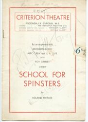 School For Spinsters Play Cast - Show Bill Signed Circa 1947 With Co-signers