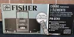 Vintage 3 Piece Fisher Boombox Ph-d741 Cassette Cd Remote New In Box