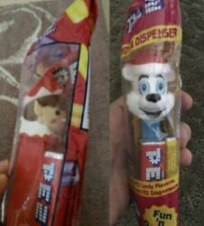 Pez Holiday Seasonal Set Of 2 Red Elf And Polar Bear Dispensers With Candy