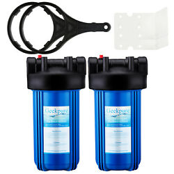 2pk Big Blue 10-inch Water Filter Housing 1-inch Outlet/inlet + Wrench And Bracket