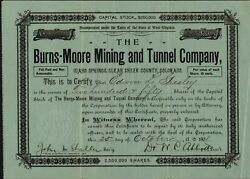 Burns-moore Mining And Tunnel Co Idaho Springs Co 1901 Issued Uncancelled