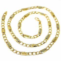 18k Yellow White Gold Chain Gourmette And Flat Plates Square Links 5.8 Mm 24
