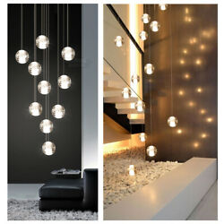 Stair Hanging Light Chandelier Round Crystal Pendant Home Lights Glass Ball Lamp