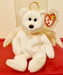 Super Rare 1998 Ty Beanie Baby   Halo The Angel Bear   Brown Nose   Retired 4208