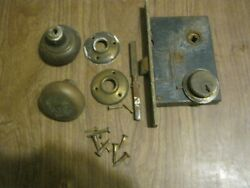 Vintage Clinton Mortise Door Lock Latch And Knobs Brass Front, No Key Mw-66