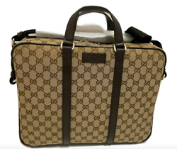 Gucci Supreme Canvas And Leather Monogram Briefcase Laptop Tote Bag $999.99