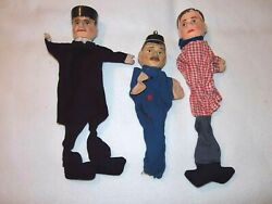 Vintage Punch And Judy Puppet Carved Wood Children's Toy Theater Doll Police Man